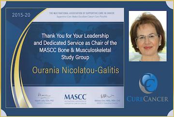 Multinational Association of Supportive Care in Cancer - MASCC : Τιμητική πλακέτα στην Καθηγήτρια κα. Ουρανία Νικολάτου-Γαλίτη, Επιστημονική Υπεύθυνη του CureCancer