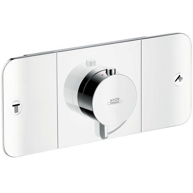 Thermostatic module for concealed installation, for 2 outlets