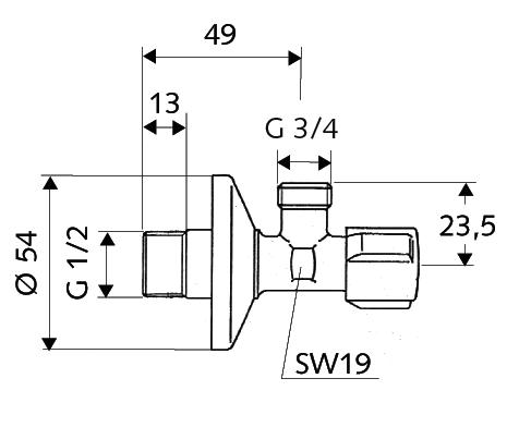 Outlet valve  1/2 - 3/4