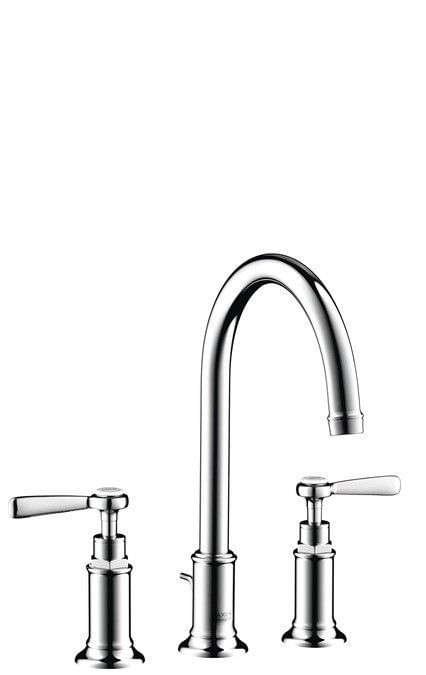 AXOR Montreux 3-hole basin mixer 180 with pop-up waste set and lever handles