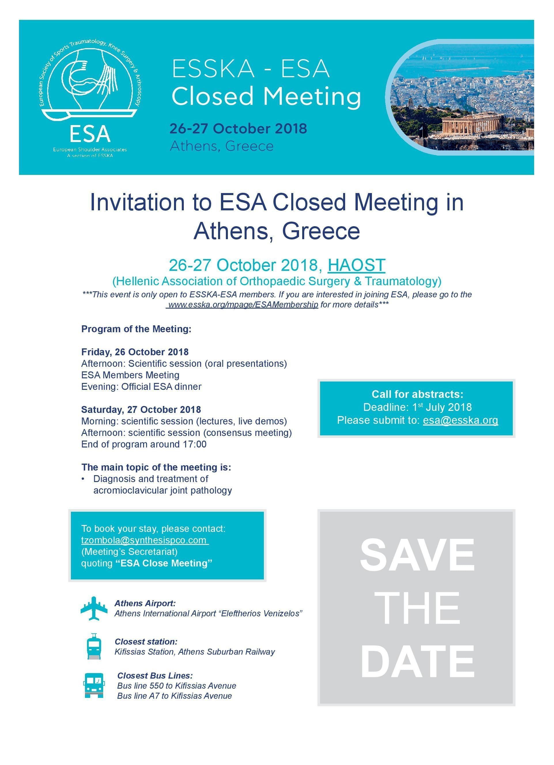 ESSKA - ESA CLOSED MEETING
